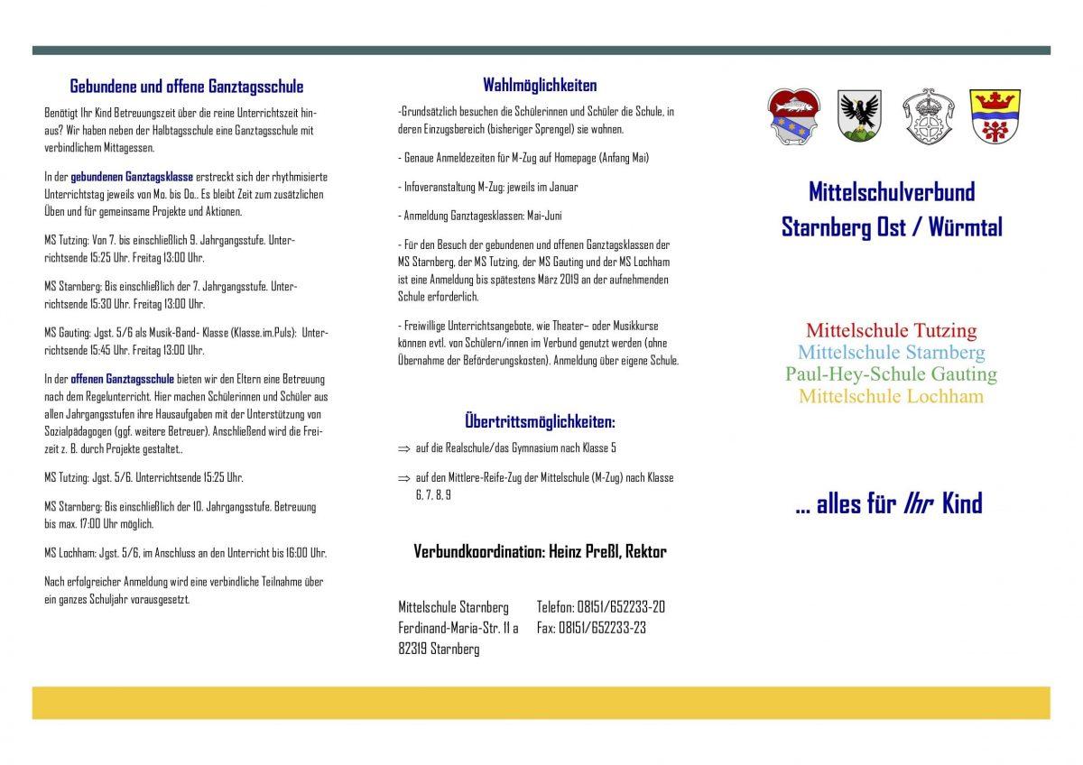 Flyer Schulverbund Starnberg Ost 2018/19
