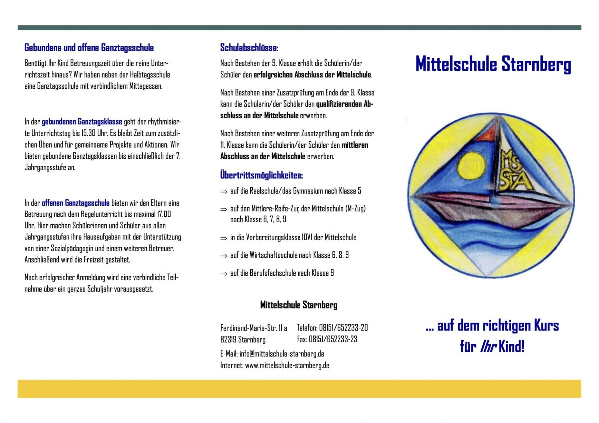 Flyer Mittelschule Starnberg 2019-20